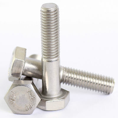 M10 / 10mm A2 STAINLESS STEEL PART THREADED HEX HEAD BOLTS HEXAGON SCREWS DIN931