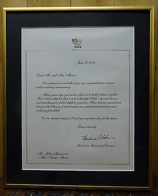 Canadian Governor General Adrian Clarkson Rideau Hall Letter To John Moore