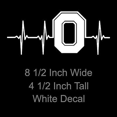 Ohio State Buckeyes Block O Heartbeat White or Red Decal 8.5 Inch Decal/Sticker