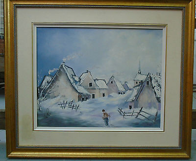 Quebec Oil Painting Winter Storm Signed-Oil on Canvas