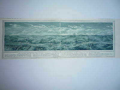 """1914 Ww1 Print. """" A Panoramic View Of The Battle Of Aisne """"  Rare"""
