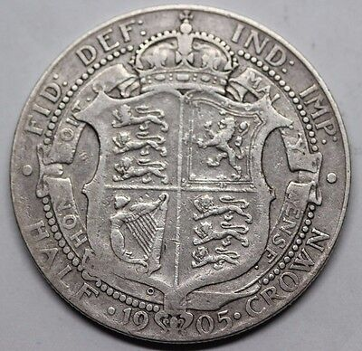 Very Rare 1905 KING EDWARD VII SILVER HALF CROWN