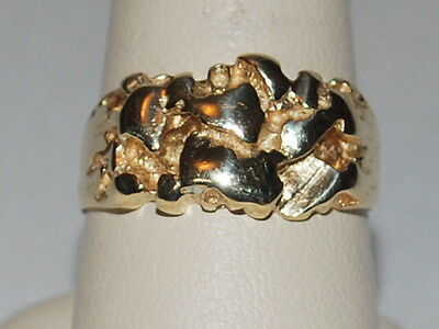 10 K gold ring with GOLD NUGGET design