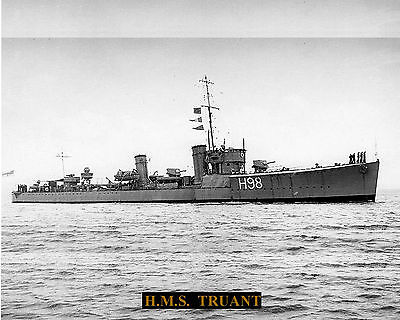 Royal Navy Destroyer Hms Truant H98 Photograph  With Bonus Stat Sheet