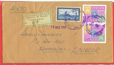 Ecuador 1.30s Imperf Pair + 1s used on Registered cover 1966