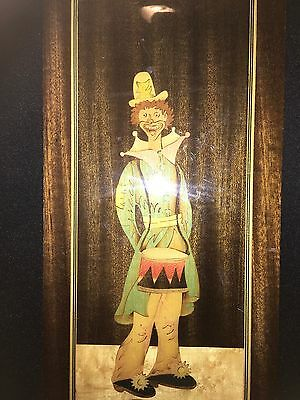 Italian Colourfully Inlaid Wooden Plaque Depicting A Clown,Possibly Sorrento