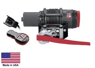 "WINCH - Heavy Duty - 12 Volt DC - .9 Hp - 3,000 Lb Cap 50 Ft of 3/16"" Synthetic"