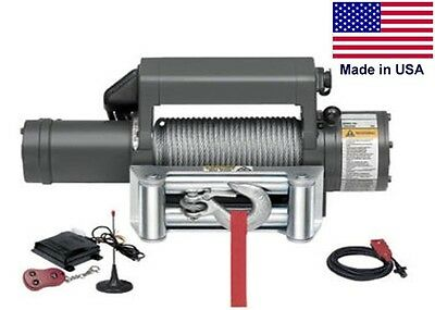 "WINCH - Commercial - 12 Volt DC - 5.5 Hp - 9,500 Lb Cap - 90 Ft of 7/16"" Cable"
