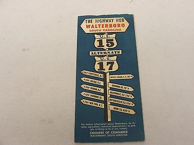 Walterboro, South Carolina Highway Hub 1950's Travel Brochure