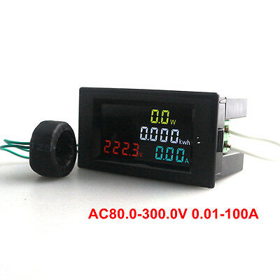 AC80-300V Digital Voltmeter Ammeter Power Energy Combo Meter  100A LED + CT Coil