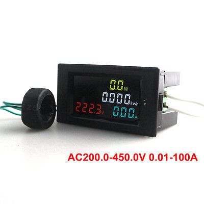 LCD Digital AC Voltmeter Ammeter Power Energy Current Kwh Meter CT 200~ 450V100A