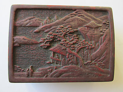 Vintage Chinese Red Cinnabar Lacquer Trinket Box- Trees, Mountains & Pagodas