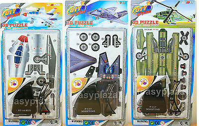 ARMY WARPLANE & HELICOPTER 3D PUZZLE MODEL (3 x SET) FOR CHILDS KIDS NEW DIY TOY