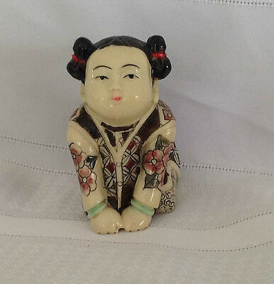 Asian Oriental Girl Figurine on Hands Knees Carved Beautiful Colors & Etchings