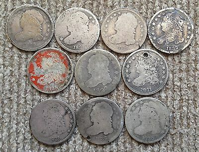 10 Cull / Low Grade Capped Bust Dimes