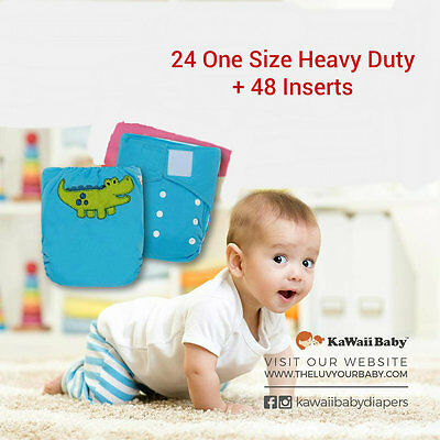 Daycare Bundle 24 KaWaii Heavy Duty HD2 One Size Cloth Diapers+48 Inserts