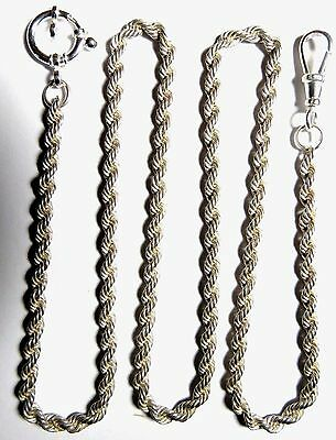 "POCKET WATCH FOB SWIVEL ROPE CHAIN STERLING SILVER 3MM 23"" long & 23.3 grams"
