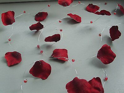 "9Ft10"" Burgundy  Petal Beaded Garland/pearls/cake/craft/marquees Poles/table"