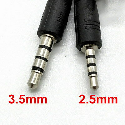 Double End 2.5mm to 3.5mm Male 3-Ring TRRS Headphone Jack Plug AV Adapter Cable