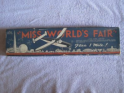 Vintage Antique Art Deco Miss World's Fair 1939 1940 Wood Model Airplane