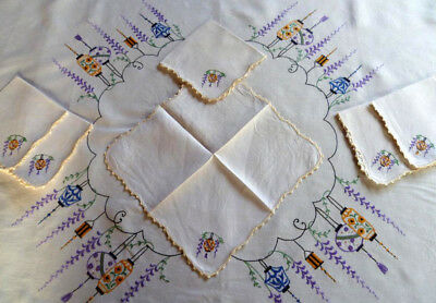 Chinese Lanterns & Wisteria ~ Vintage Hand Embroidered Tablecloth & 6 serviettes