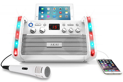 Akai KS213W Portable CD and G Karaoke System with Tablet Cradle, White