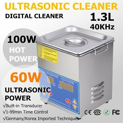 Stainless Steel 1.3L Liter Industry Heated Ultrasonic Cleaner Heater w/Timer VIP