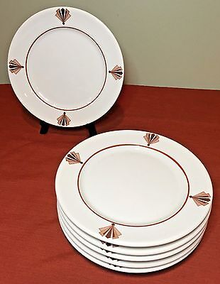 "Syracuse China Art Deco Fan Anasazi 9"" Luncheon Plate Set of 6 - Old Ivory OPCO"