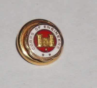 Corps Of Engineers Gold Lapel Button LGB Marked 10k WWII M0436