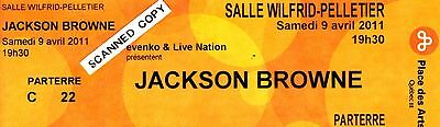 Jackson Browne Solo Concert Ticket Stub - Montreal April 9, 2011