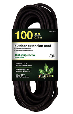 Perfpower Go Green 16/3 SJTW Outdoor Extension Cord, 100-Feet, Black