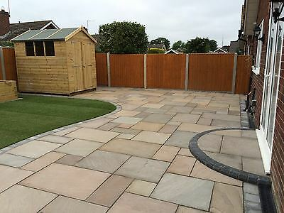 Natural Indian Sandstone Paving Raj Green Patio Pack (19m2Pack) Garden Slabs