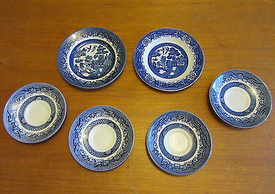 6 X BLUE WILLOW & CHURCHILL SIDE PLATES & SAUCERS - various era stamps on bases