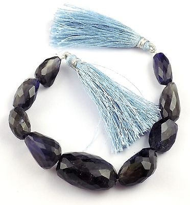 """1 Strand Natural Ink Blue Iolite Nuggets Beads 10x16-17x27mm Faceted 7"""" Long"""