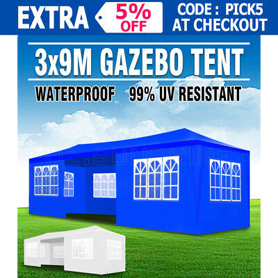 NEW 3x9M GAZEBO PARTY TENT AWNING OUTDOOR MARQUEE PAVILION CANOPY WEDDING EVENT