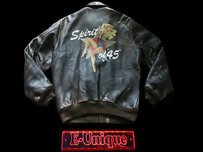 VINTAGE AVIREX SPIRIT OF 45 LEDERJACKE LEATHER JACKET 1990s M VTG.