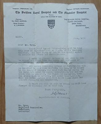 The Bethlem Royal Hospital and The Mandsley Hospital letter 1956 watermarked