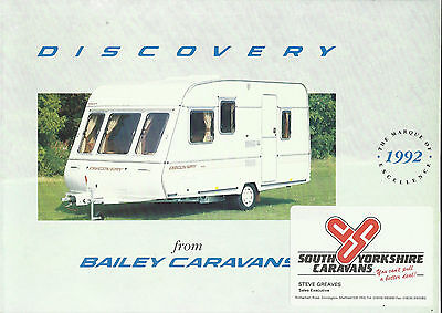BAILEY DISCOVERY caravan range original 1992 UK market brochure