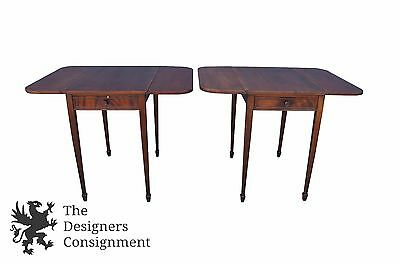 2 Vintage Imperial Furniture Mahogany Sheraton Style Drop Leaf End Side Tables