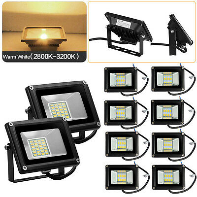 10x 20W LED Warm White Flood Light DC 12V IP65 SMD Outdoor Security Spot Lamp