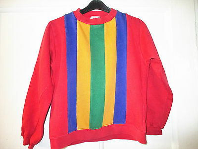 George Asda Vintage retro funky  red striped  sweatshirt  age 11-12 yrs