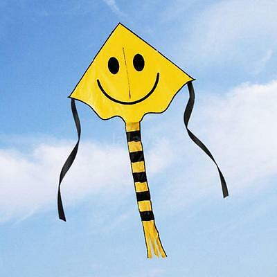 Smiley Face Kite Easy to Fly 30M Single Line Fun Childrens Kids Toy Gifts