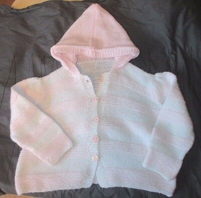 Vintage Baby Hooded Cardigan Pretty Pink white -approx  9-12-18 -mth  hand knit