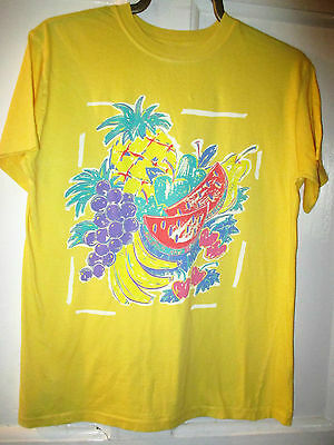 Vintage M & S yellow Funky beach   Girls/Boys t-shirt - Age 11 fruit  festival