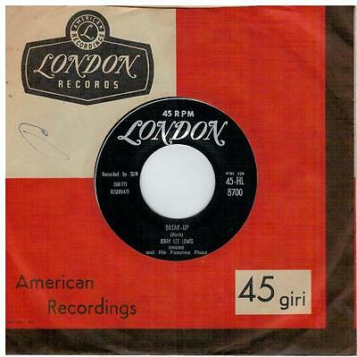 JERRY LEE LEWIS Break up I'll make it all up to you 45rpm 7' PS 1958 ITALY EX+