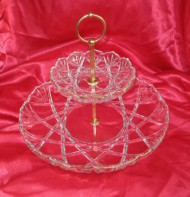 Crystal two levels round cake serving plate tier etagere