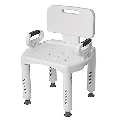 Drive Medical RTL12505 Premium Series Bath Bench with Back and Arms- White