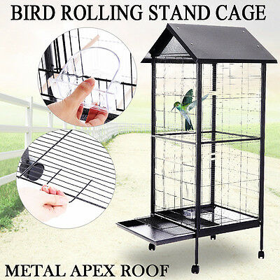 """New 67"""" 170x60 x 60.3 cm Parrot Parakeet Bird Stand Cage with 4Wheels Metal Roof"""