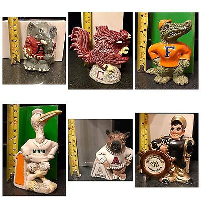 Vintage Hand Made College Mascot Ceramic Figurines 1984- Rare NCAA Memorabilia