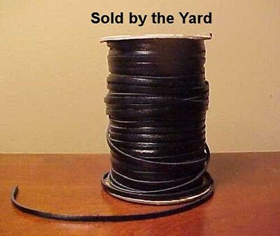 BLACK Kangaroo Leather Lacing 3/32 Inch Width for Model Horse Tack SOLD BY YARD